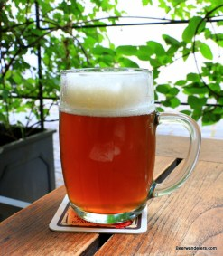 unfiltered amber beer in mug