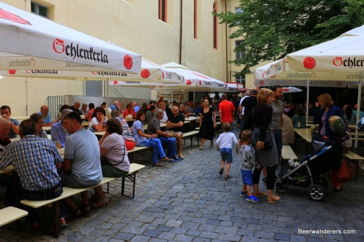 busy Biergarten at Schlenkerla