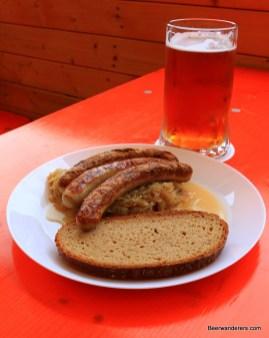 bratwurst with beer