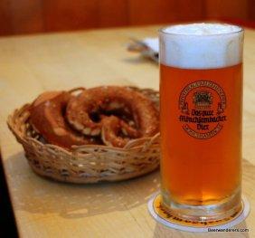 beer in mug with pretzels