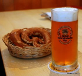 beer in mug with pretzels