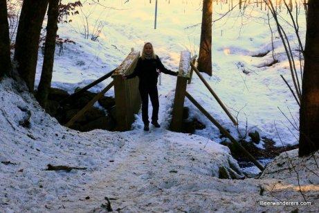 woman on hiking bridge