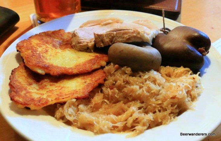 meat and potato pancakes with sauerkraut