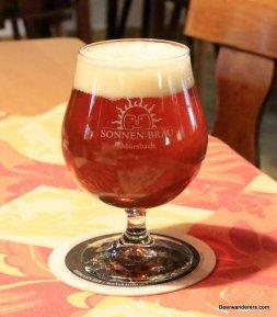 amber beer in goblet