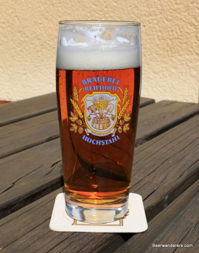 amber beer in glass