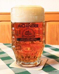 light amber beer in mug