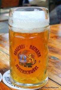 unfiltered golden beer in mug