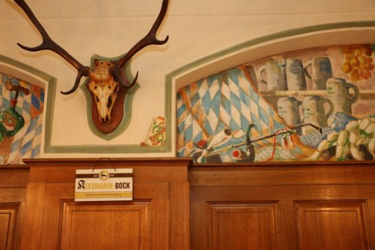 pub interior with antlers