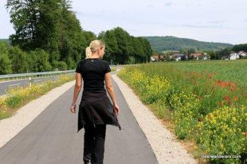 pretty blond on hike