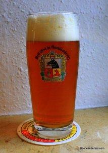 golden beer in logo glass