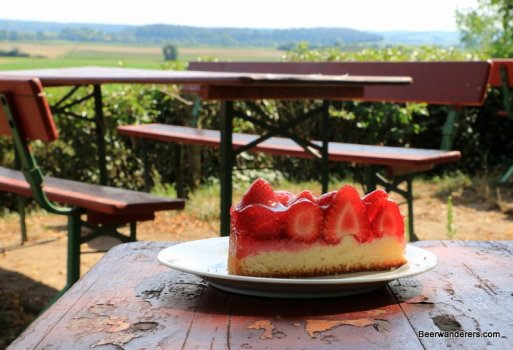 strawberry cake at biergarten