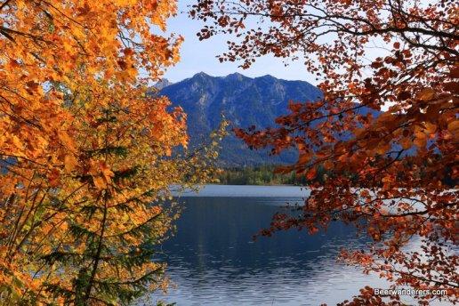 mountain lake with foliage