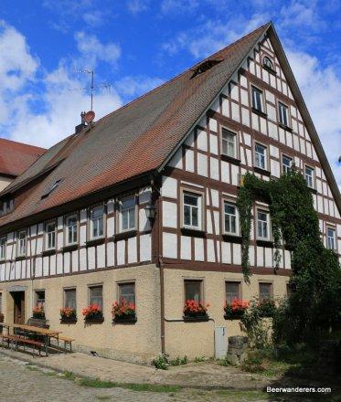 half-timbered brewpub exterior