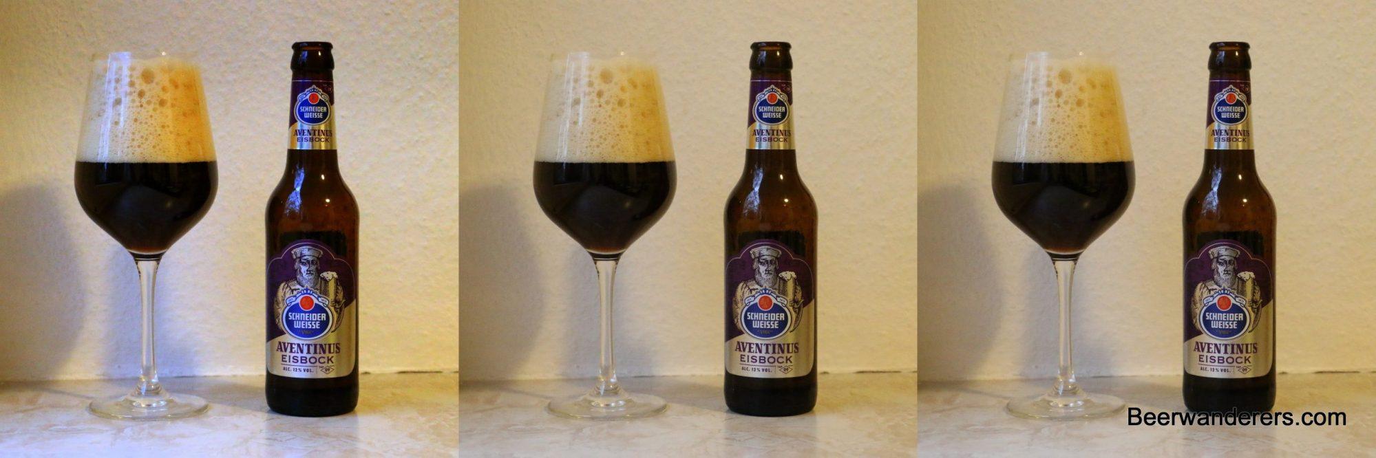 dark beer in wineglass with bottle x three