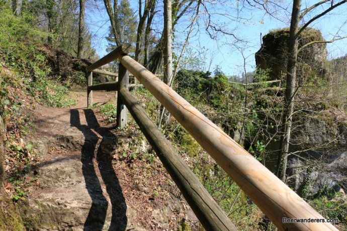 trail with wooden rail guard