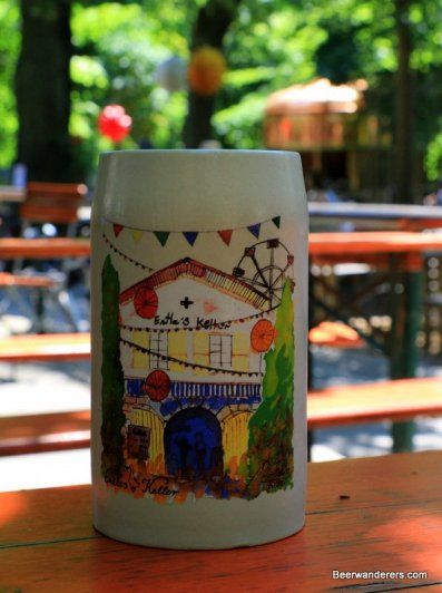ceramic beer mug with colorul logo
