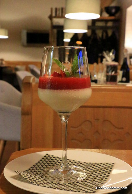 panna cotta in wine glass
