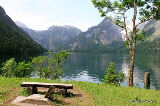 bench on mountain lake