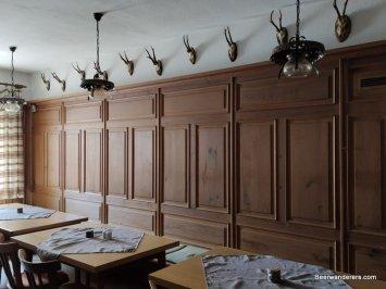 restaurant interior with animal antlers
