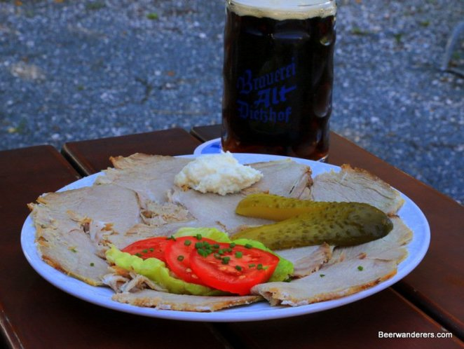 cold cuts with pickel and dark beer