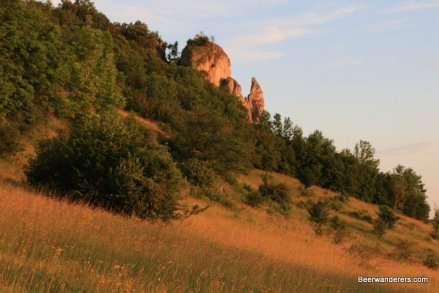 rocky outcropping at sunset