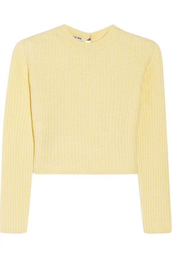 Miu Miu, cropped ribbed cashmere sweater (@Net-a-Porter)