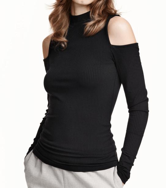 H&M Long Sleeve Cut-Out Shoulder Top