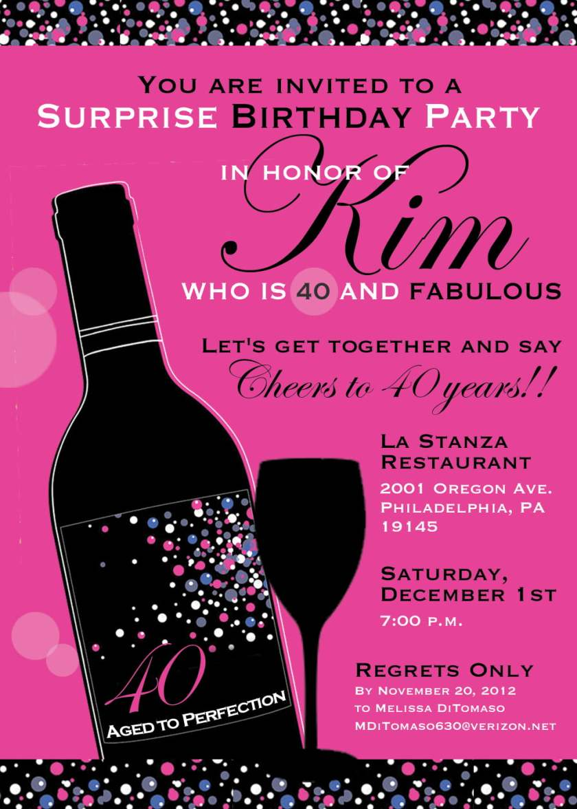 40th Birthday Party Invitation Wording For Women