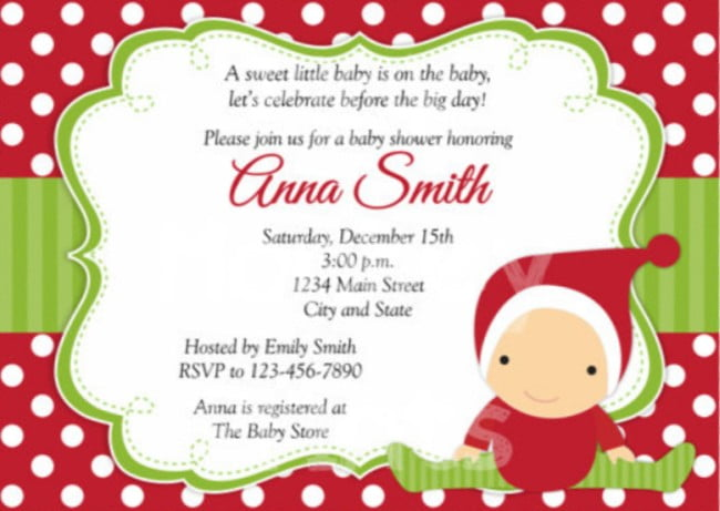Christmas Baby Shower Invitations Free Printable