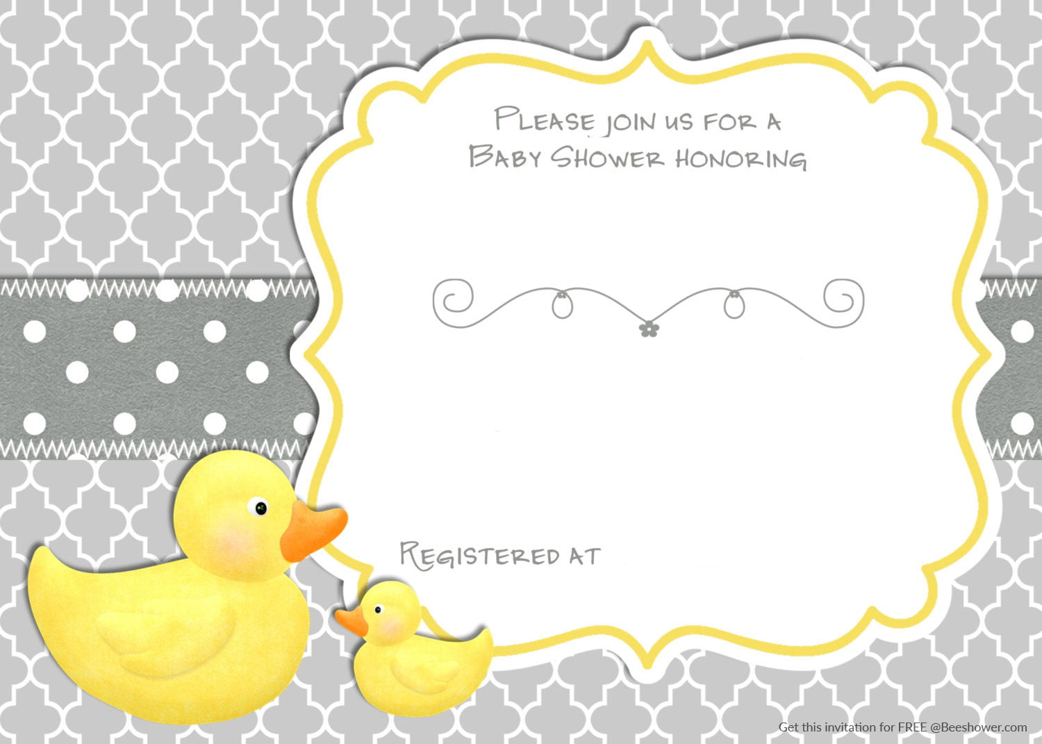 Free Printable Rubber Duck Baby Shower Invitation