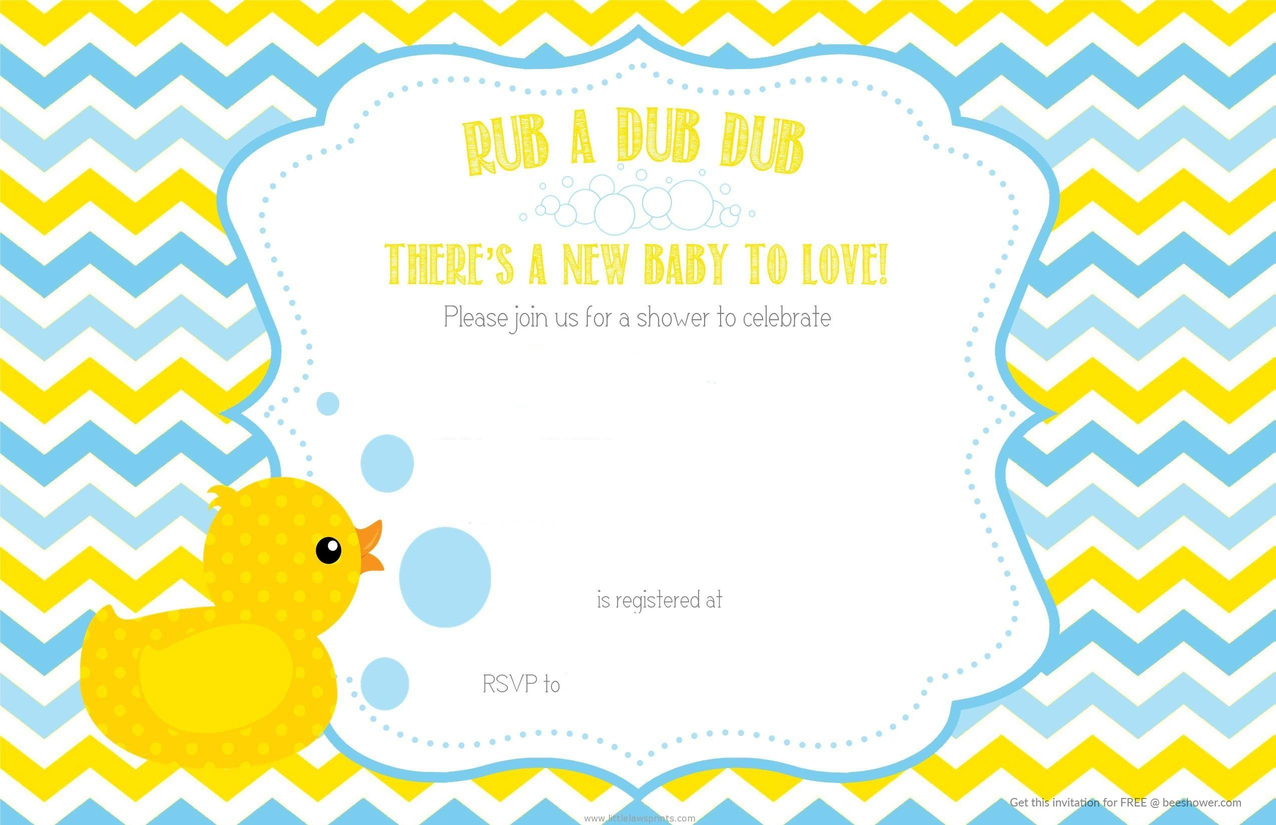 Free Printable Duck Chevron Baby Shower Invitation