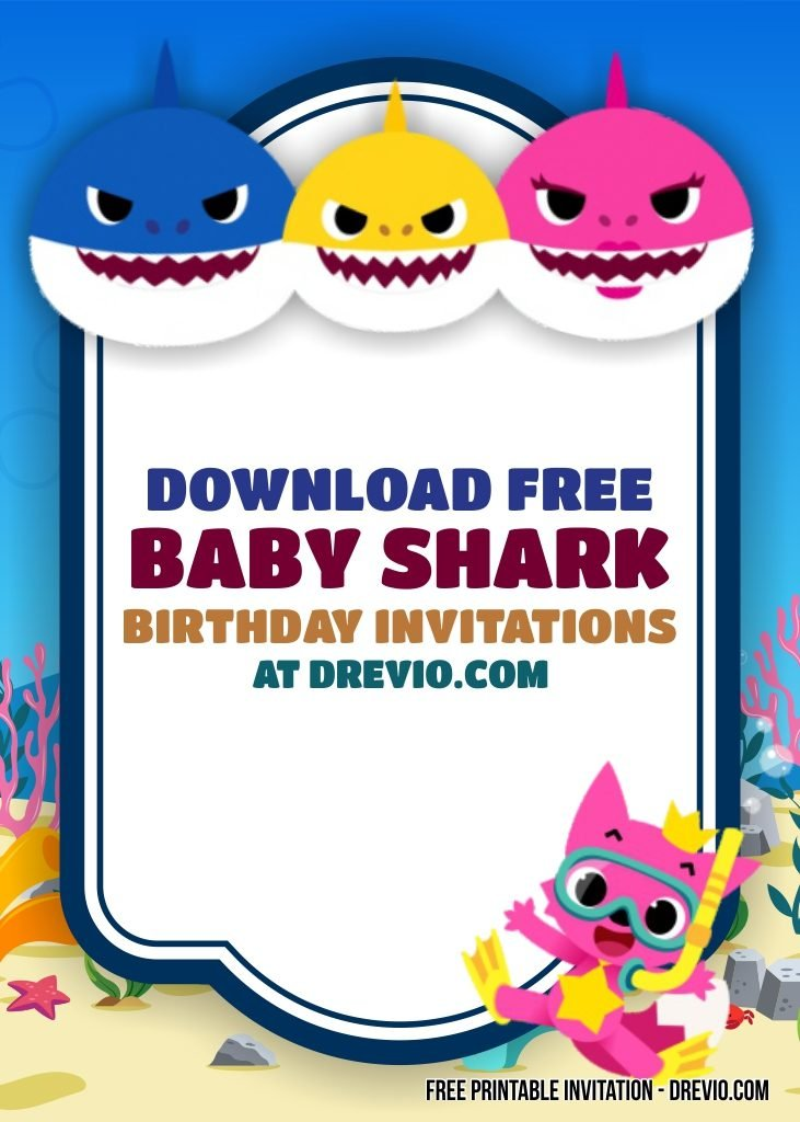 free printable baby shark invitation