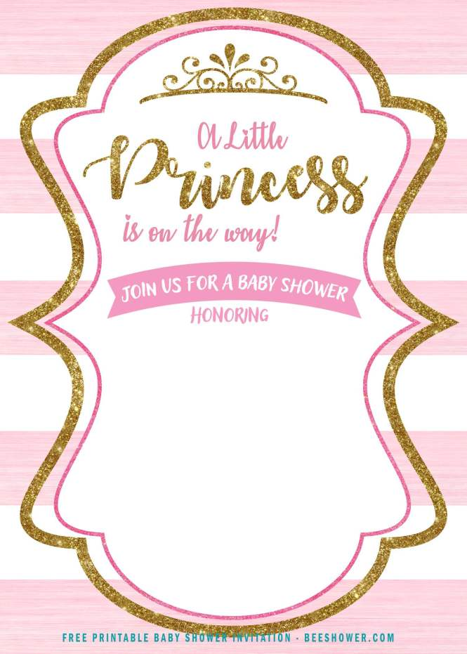 Free Pink And Gold Princess Baby Shower Invitation
