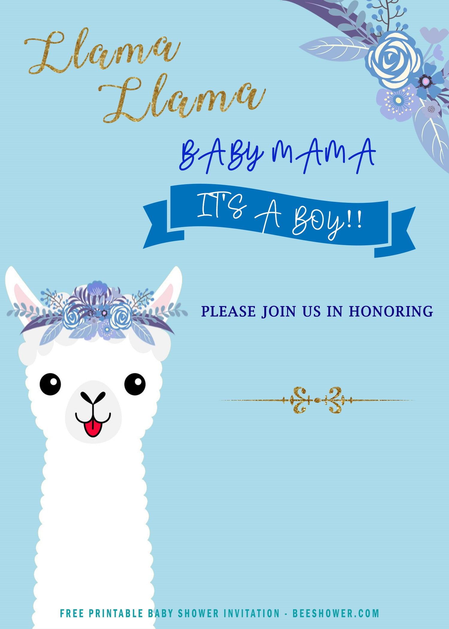 12 Free Printable Llama Invitation Templates