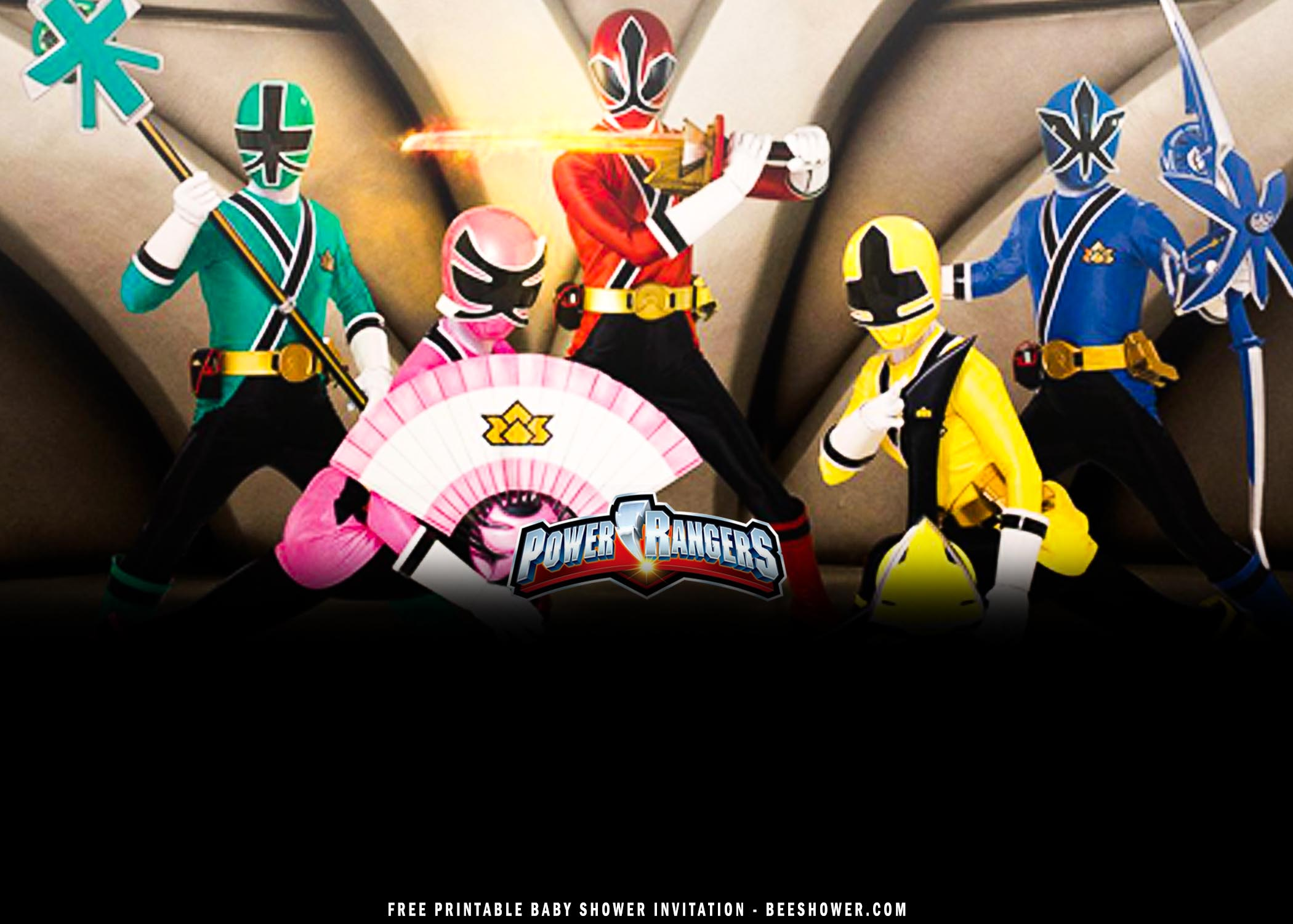 power ranger baby shower invitation