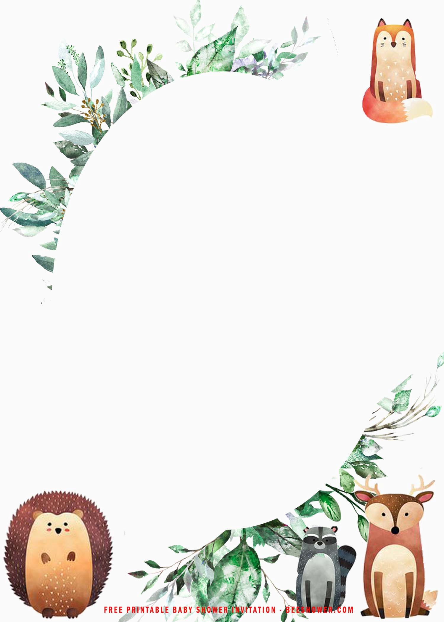 Free Printable Cute Woodland Baby Shower Party