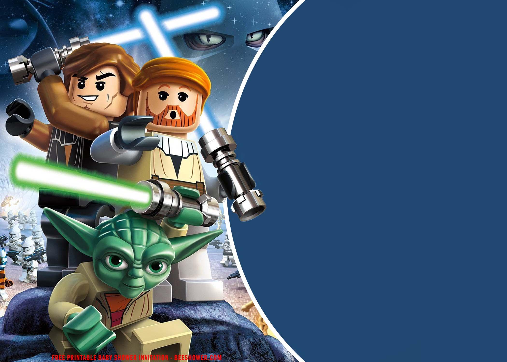 lego star wars baby shower invitation
