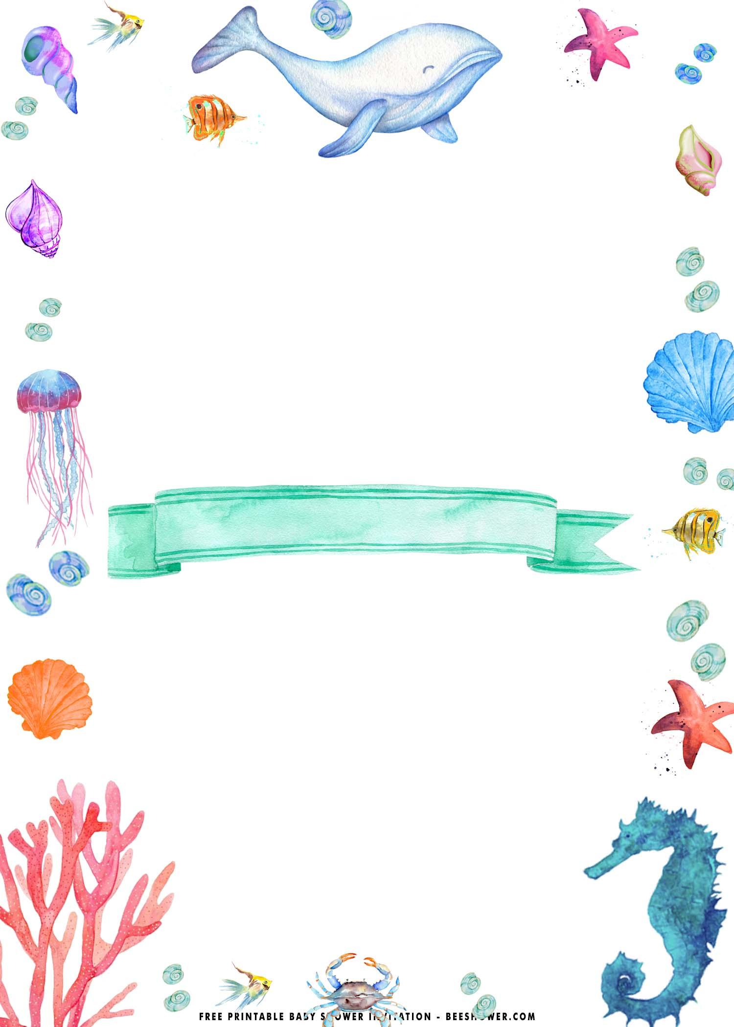 sea birthday party invitation templates