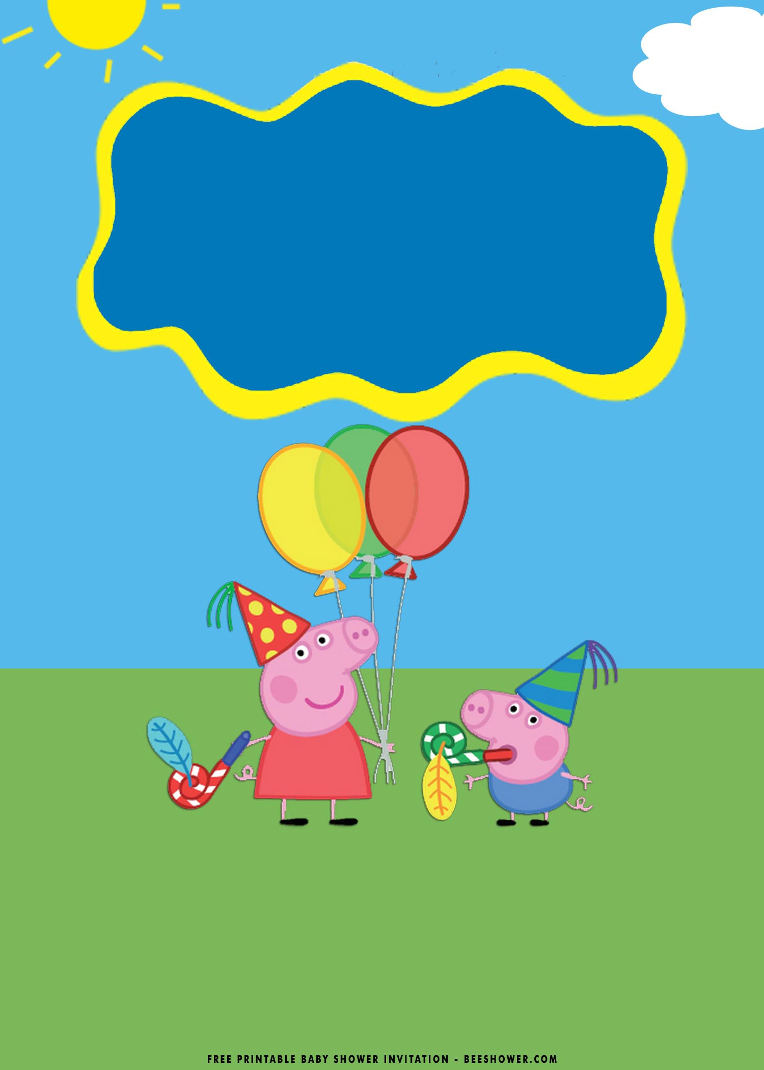 free printable peppa pig baby shower