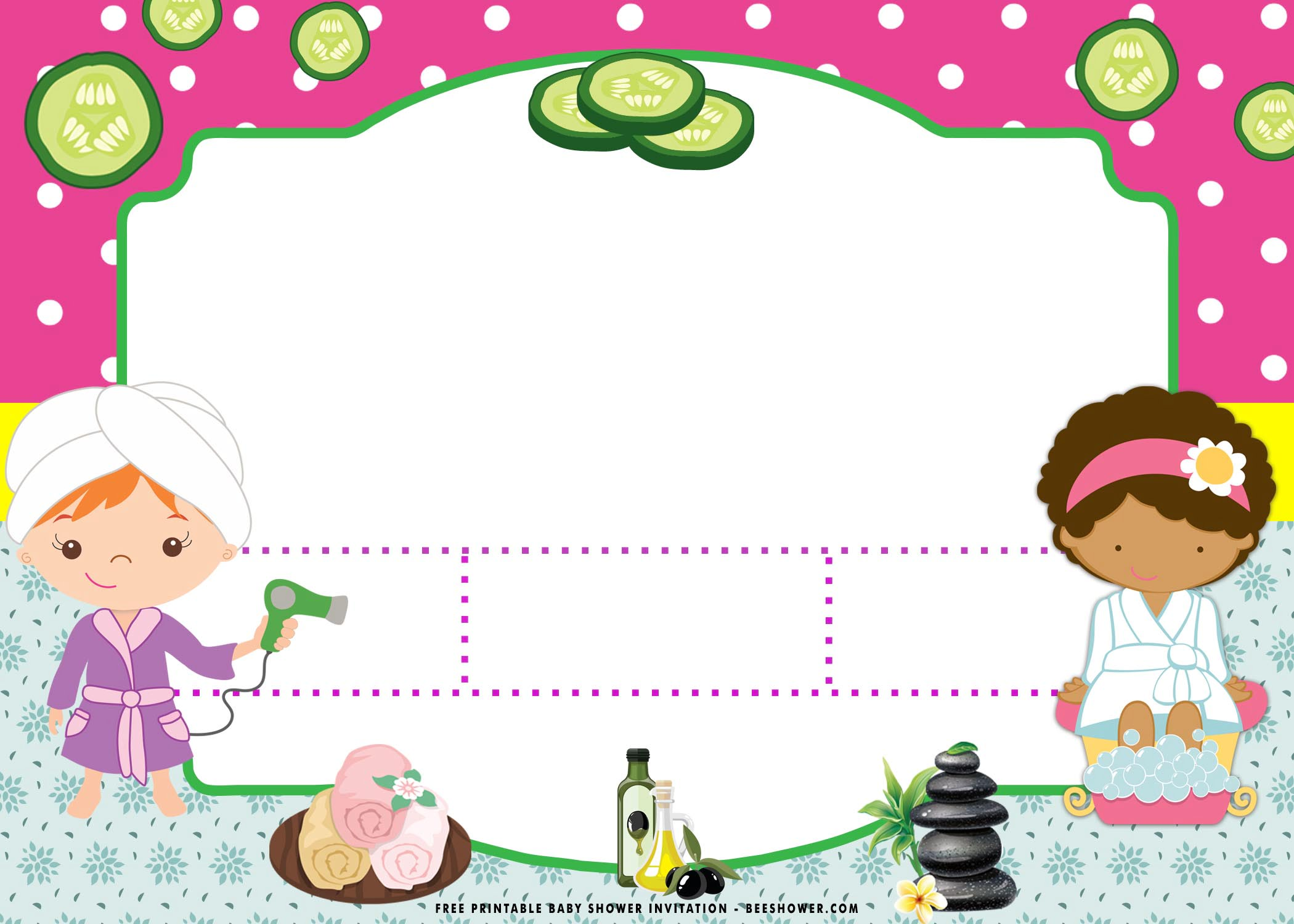 free printable spa party baby shower