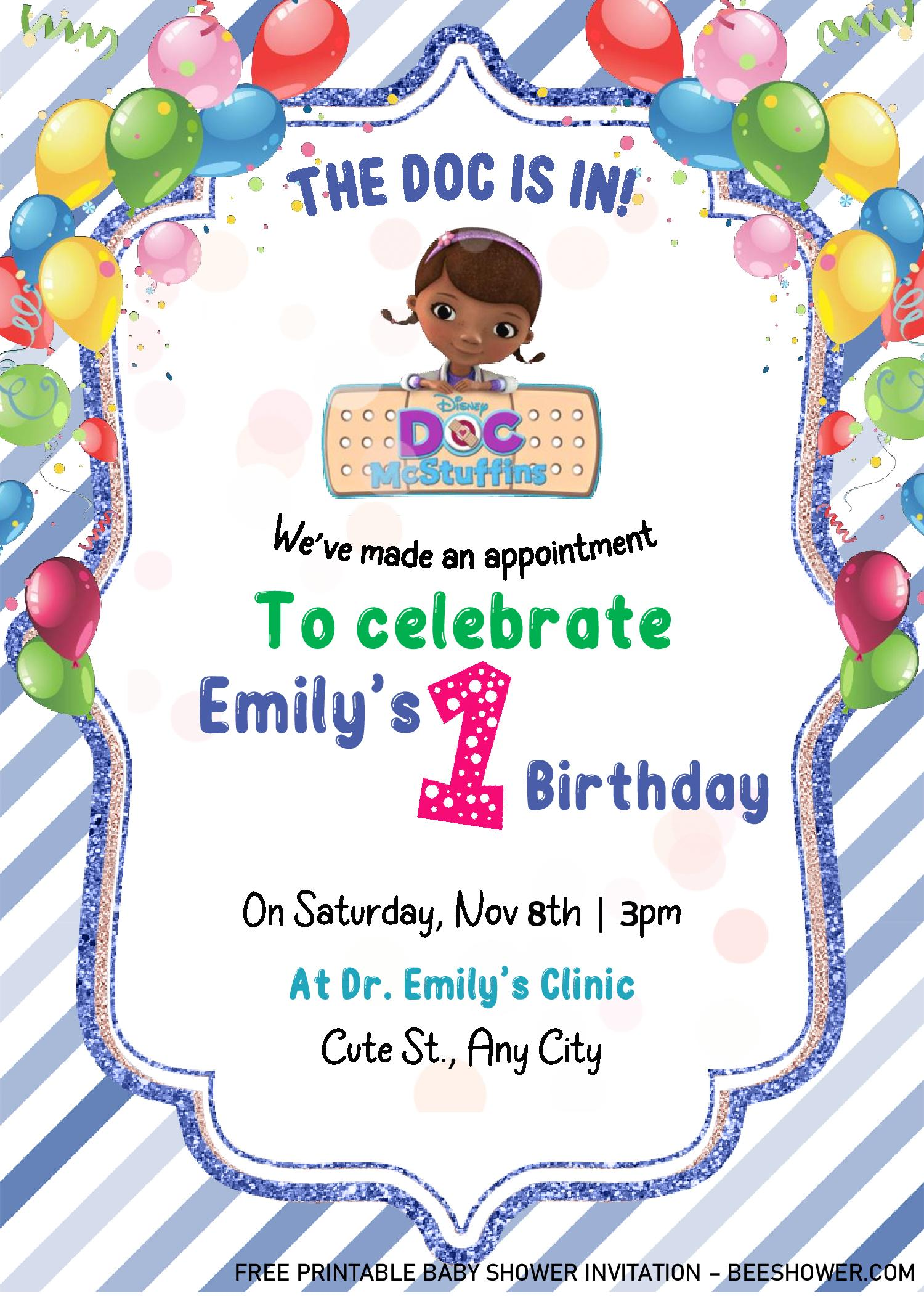 doc mstuffins birthday invitation