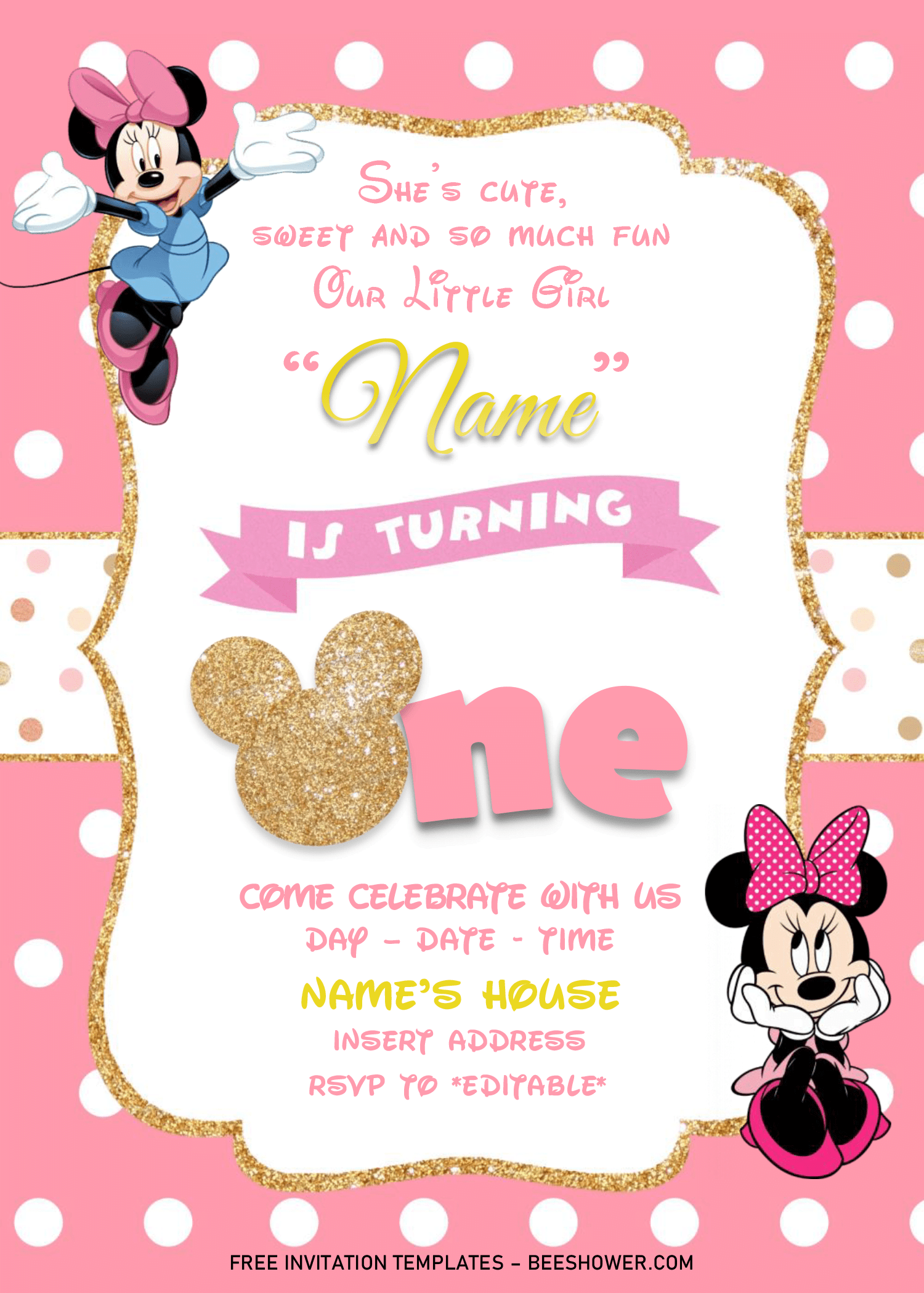 gold glitter minnie mouse birthday