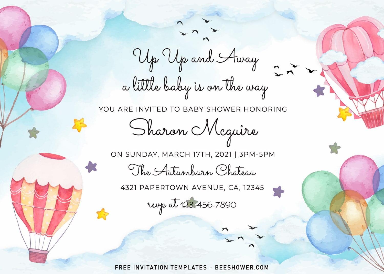 watercolor hot air balloons baby shower
