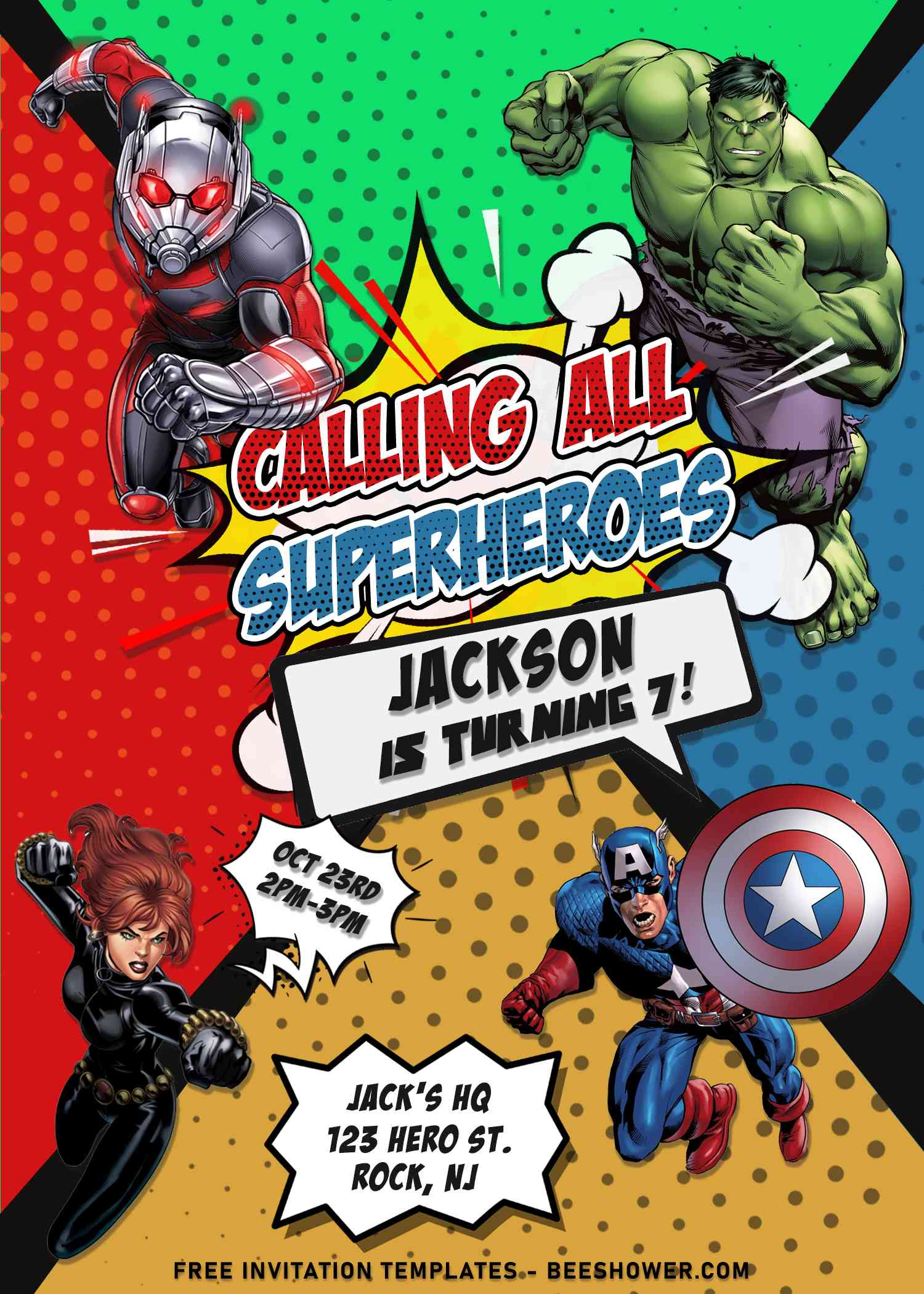 superhero avengers birthday invitation