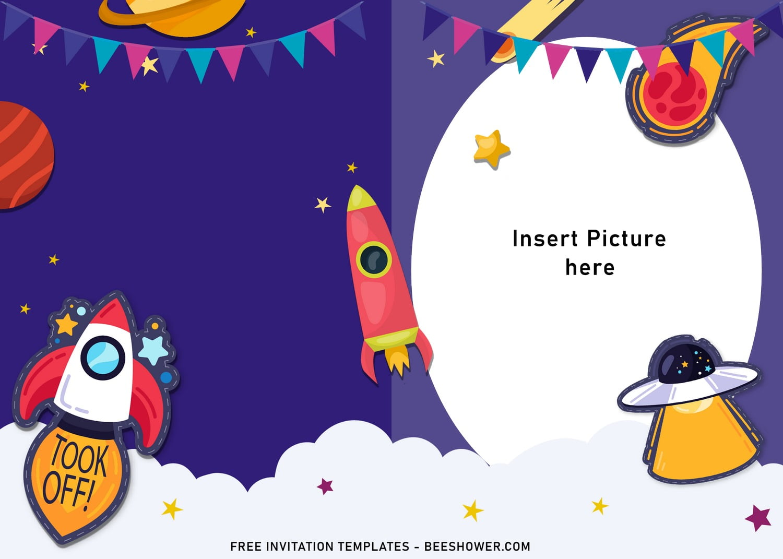 11 space galaxy birthday invitation