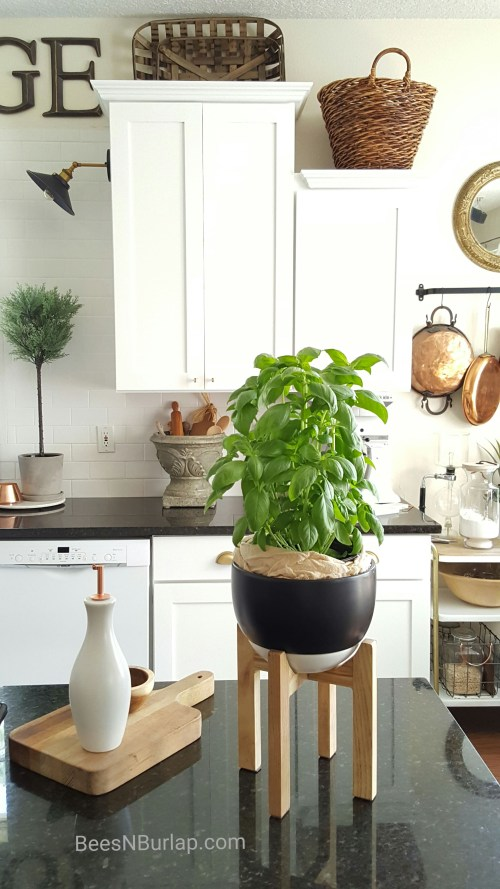herb plant basket kitchen white farmhouse vintage copper