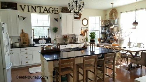 white industrial vintage farmhouse kitchen reveal one room challenge
