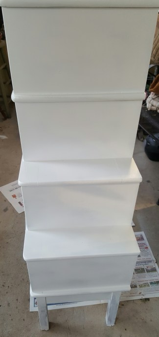 white painted cabinet makeover