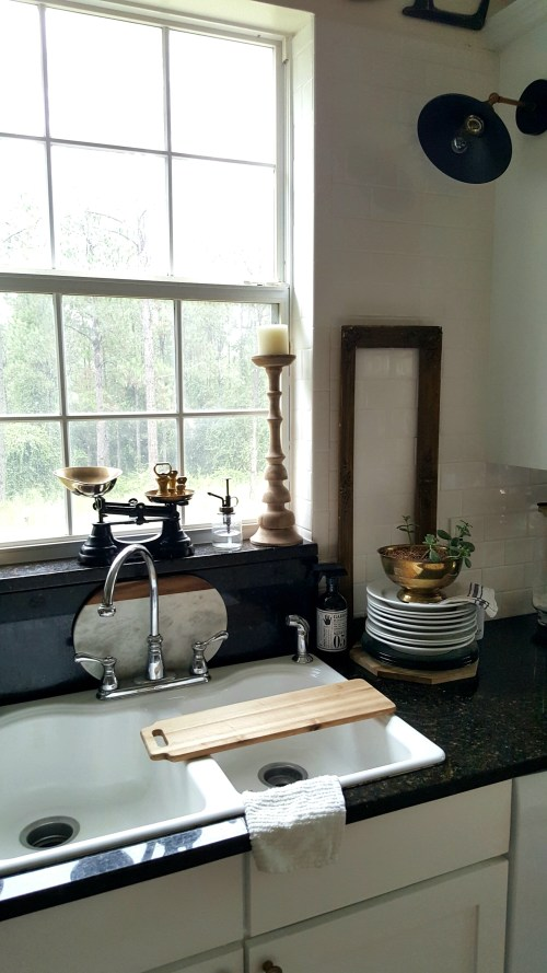 Industrial White Kitchen Makeover Painted Cabinets Black Gold