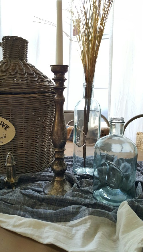 Old Rustic European Fall Tablescape Wicker French Basket Vintage Silver Glass Bottles